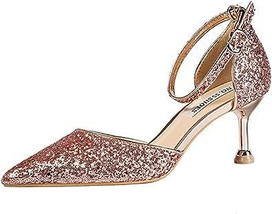 DEBAIJIA Donna Scarpe col Tacco Paillettes 6CM 9CM 10CM Tacco Alto Scarpe da Sposa Festa