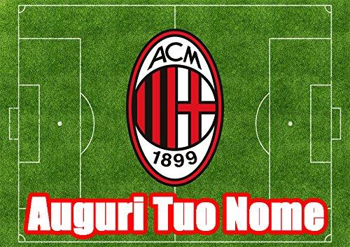 Partycolare Cialda per Torta Campo Calcio Stemma Milan - da Personalizzare - milan003
