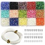Ewparts DIY Perlen Sets, 15 Farben Glanz Mini Perlen für DIY Armbänder, Halsketten, Ohrringe, Schlüsselanhänger und Kind Schmuck Makin, Kleidung Dekoration (Rohr)