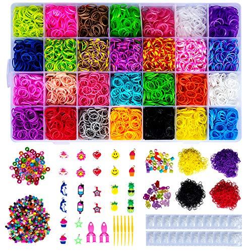 Hakkin Bunter Regenbogen Loom Bänder Kit Armband/Schmuck selber Machen Kit Gummibänder und Zubehör, für Kinder, Basteln von Armbändern