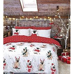 Pieridae de funda de edredón con funda de almohada y juego de cama, Festive Pug, matrimonio
