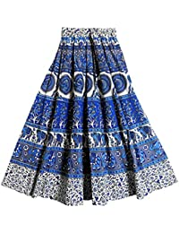 DollsofIndia Blue, White And Grey Sangeneri Print Cotton Skirt - Length - 39 Inches - Elastic Waist - 26 To 36...