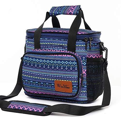 Win.max borsa termica 6.2l borsa pranzo borsa alimenti borse da picnic bambini adulti borsa frigo pranzo con tracolla per campeggio, scuola, lavoro(blu)