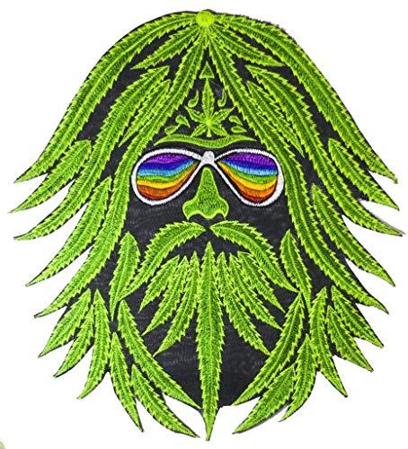 ImZauberwald Hanf Hippie Aufnäher (20cm, Schwarzlicht aktiv, handgestickt ohne PC) Regenbogen Patch Marihuana Weed Dope -
