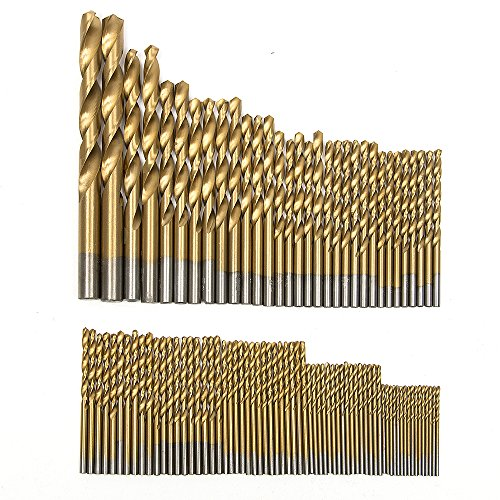 Fortag 99.tlg Micro Bohrer Set Titanium HSS Metallbohrer Spiralbohrer Handspiralbohrer Bohrersets Werkzeug Drill Bit 1.5 mm-10 mm