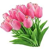 LUCY WEI Flores de Tulipán Artificiales,12 PCS Rosado Flores Falsas de Látex para Bodas,Fiestas,Hogar,Jardín,Oficina