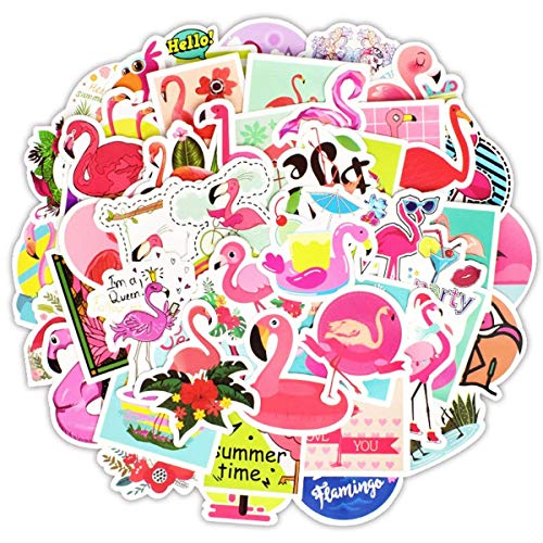 stickerfactory Wasserdichte Vinyl 50pcs Flamingo Aufkleber für Personalisieren Laptop, Auto, Helm, Skateboard, Gepäck Graffiti Decals (50pcs)
