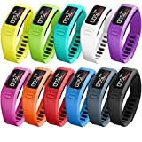 #3: SKYLET Garmin Vivofit Replacement Bands with Metal Clasp 2 Secure Silicon Fastener Rings for Free No Tracker 11 Pack Large