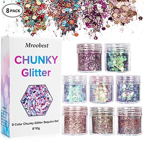 Chunky Glitter, Glitter Nagel, Glitzer Sequin, Glitzer Sequin Chunky Glitter für Gesicht Nägel Augen Lippen Haare Körper, Make Up Glitter Paillette Music Festival Masquerade - 8 Boxen*10ML -