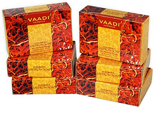 Vaadi Herbals Super Value Luxurious Saffron Soap, Skin Whitening Therapy, 75g (Pack of 6)