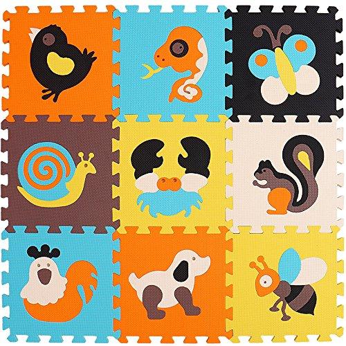 XMTMMD Alfombra de Juego Puzzle-Piezas de Puzzle de Encaje Que Promueven el Desarrollo Sensorial Visual-Alfombra Suave para Niños-9 Azulejos EVA Mat-No Tóxico AMZP010G3010