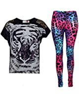 New Girls Tiger Face Print Party Fashion Top T Shirt & Leopard Legging Set Age 7 8 9 10 11 12 13 Years
