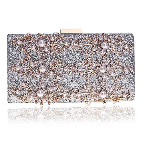 Eastever Diamant-Besetzte Frauen-Abend-Handtaschen-Perlen-Blumen-Schulter-Crossbody-Geldbeutel-Handtasche für Hochzeits-Bankett-Damen Kleiden Abendessen-Beutel - Silber -