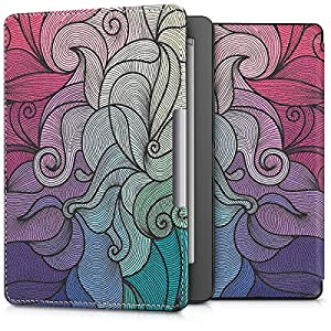 kwmobile Case Compatible with Kobo Aura Edition 2 - PU Leather e-Reader Cover - Dark Pink / Blue / Green