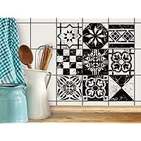 Piastrelle Adesive decorative per interni-decori | Adesivi murali in pvc - Stickers Design per piastrelle bagno e cucina | Adesivo decorato | 15x15 cm - Motivo Disegno marmo - Set 9 pezzi