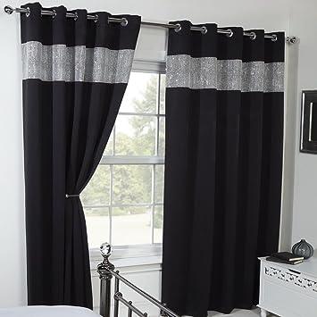 Carla Diamante Eyelet Ring Top Thermal Blackout Curtains - Black ...
