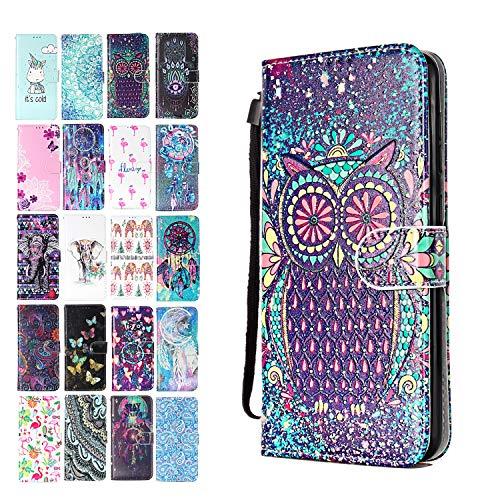 ANCASE Lederhülle kompatibel für Samsung Galaxy A40 Hülle Eulen-Mandala Muster Handyhülle Flip Case Cover Schutzhülle mit Kartenfach Ledertasche für Mädchen Damen