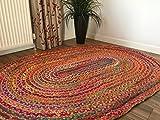 Alfombra Oval trenzado tamaño grande yute y algodón multicolor 120 cm x 180 cm