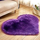 Edhua Love Heart Teppich Pads, Kunstwolle, Schaffell, Fußmatte, weich, flauschig für Schlafzimmer violett