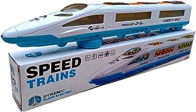 Arihant E Commerce Plastic Emu Speed Trains 3D Dynamic Flash Electric (Blue and White)