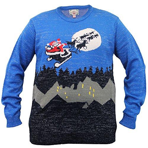 Pour Hommes Grand King Size 3D Pull De Noël D555 Duke tricoté Manchot Rudolph Musique Marine - TRAÎNEAU