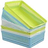 Ucake A4 Plastique Plateaux de Paniers Panier de Rangement, Bleu, Vert, Blanc, Lot de 6