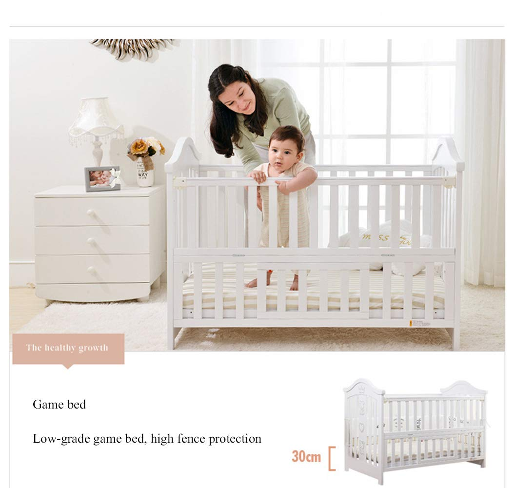 XUNMAIFLB Removable Toddler Bed, Wooden Baby Cot Bed, Crib, Solid Wood Splicing Bed, Cradle Bed (outer Diameter: 126.5 * 73.5 * 104cm/inner Diameter: 120 * 65cm) Safety XUNMAIFLB 6-12 months: The bed of the growing bed is adjusted to a safe depth of 2 blocks to protect the baby during the crawling period. 0-6 months newborn bed: 55.5cm scientific height, no need to deep bend, reduce spinal strain. More than 18 months: the sofa chair/teen bed sidebar removes the half-guard bed and cultivates the baby's ability to fall asleep independently. Can also be used as a sofa chair! 2