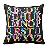 Bags-Online Decorative Square Colorful Rainbow Stripe English Alphabet Pillow Case Covers Home Decor Design for Sofa Two Sides 20X20 inch