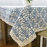 Hippolo Blau & Weiß Porzellan Tischdecke Tischdecken Baumwolle Leinen Tischdecke Küche Esstisch Abdeckung (140*140cm)