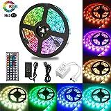 VGROUND 5M Tira LED RGB 300 Leds 5050 SMD Tira LED de Luces LED Kit Completo con Control Remoto de 44 Botones para Dormitorio, Fiesta, Hogar