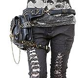Steampunk punk rock Gothic Goth vapor retro bolsa de hombro cintura bolsas packs de estilo victoriano para mujeres hombres + pierna muslo Holster Bag (Negro)