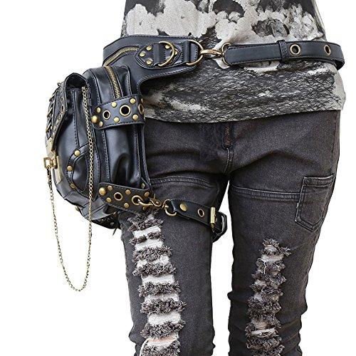 Crossbody Tasche , steampunk retro - rock - gothic - punk mit dampf schulter taille taschen packungen im viktorianischen stil für frauen männer + bein am oberschenkel halfter tasche Schwarz