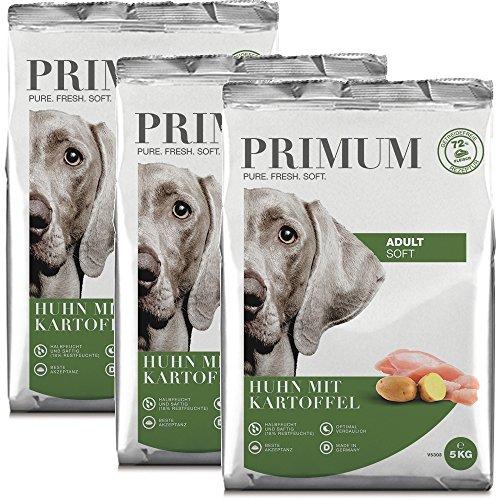 PRIMUM | Halbfeuchtes Trockenfutter | Soft Huhn mit Kartoffel | 3 x 5 kg | 72% Fleisch | natürlich getreidefrei | aus deutscher Lebensmittelproduktion | beste Akzeptanz und Verträglichkeit für Ihren Hund