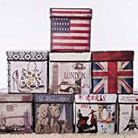 Storage capacity- upto 25 kg , holding capacity- 90 kgs retro paris eiffel tower design multifunctional ottoman foldable leather cube footrest sitting stool storage organizer box basket with lid for living room, bedroom and office, good quality cloth...