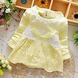 Girls Dress, Transer® Baby Girls Long Sleeve Party Dress 0-24 Months Kids Lace Flower Bow Princess Dress Toddlers Clothes born Outfit Dress