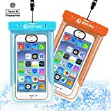 WSTOO Universal Waterproof Case With Armband and Touch ID Fingerprint,IPX8 Waterproof Phone Pouch For iPhone8/8plus/7/7plus/6s/6/6s plus Samsung galaxy s8/s7 (2-Pack) (Sky blue + orange)
