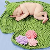 Pemm + 6rana gorro verde de ganchillo bebé Manta de punto fotografía Prop