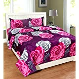 Sky Tex Multi Color Flower Printed Poly Cotton 140 TC Queen Size Double Bed Sheet With 2 Pillow Covers