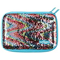 Smiggle Sparkle Hardtop Pencil Case - Blue with Rainbow Reversible Sequins