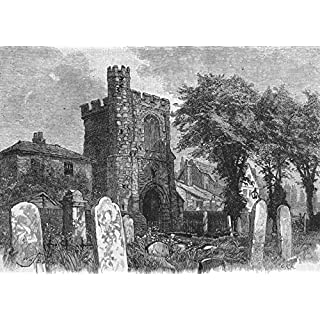 BARKING: Ancient Bell tower, Barking Abbey, antique print 1888