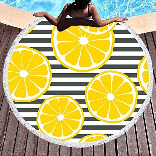 WENXIAOXU Rundes Strandmatte Strandtuch Badetuch Teppich Tapisserie Yogamatte Picknick Matte,Fruchtstreifen Quaste 1 150 * 150CM