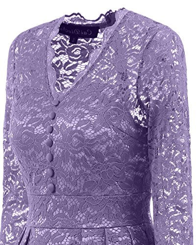 BEIJG Elegantes Spitzekleid-Cocktailkleid Knielanges Weinlese 50s Ballkleid Frauen Party Kleid Violett
