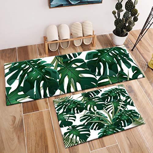 LB 2 Stücke Monstera Blatt Küchenteppich Dunkelgrüne Palmblätter Fussmatten Läufer Lustige Kinder Teppich Wohnzimmer Schlafzimmer Badezimmer Teppiche,60x40cm + 120x40cm - Blätter Teppich