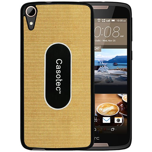 Casotec Metal Back TPU Back Case Cover for HTC Desire 828 Dual - Gold