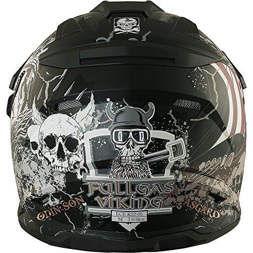Enduro Helm mit Sonnenblende Broken Head Fullgas Viking matt schwarz - Cross Helm - MX Helm - Quad Helm (XL 61-62 cm) - 5
