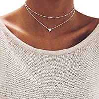 ILOVEDIY Collier Multi Rangs Chaine Plaqué Or/Argent Ras de Cou Coeur Pendentif Fantaisie pour Femme (Argent)