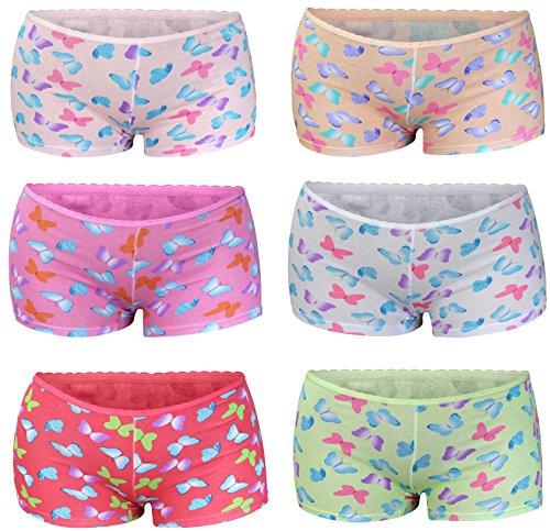 6 Pack Kinder Mädchen Baumwolle Pantys Boxer Unterhose Panty Unterwäsche Boxershorts Slips Schlüpfer 2-14 Jahre Größe 104-164 (146-152 (11-12 Jahre), Modell 3)