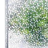 Homein 3D Fensterfolie Selbstklebend Sichtschutzfolie Selbsthaftend Sichtschutzfolie Fenster Milchglas Folien für glastüren Glasfolie Dekorfolie Ohne Kleber Window Film UV Schutz Punkte 90 x 200 cm