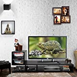 #7: Klaxon Wooden TV Stand / LED Stand for Living Room - Décor L Shape Modern TV Stand with Open Shelves for Storage - Black,Matte Finish (1200mm*400mm*503mm)