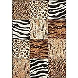 Lalee 347162727 Moderner Designer Patchwork Teppich/Muster : Leopard Zebra Tierfell - Optik/Grösse: 80 x 150 cm